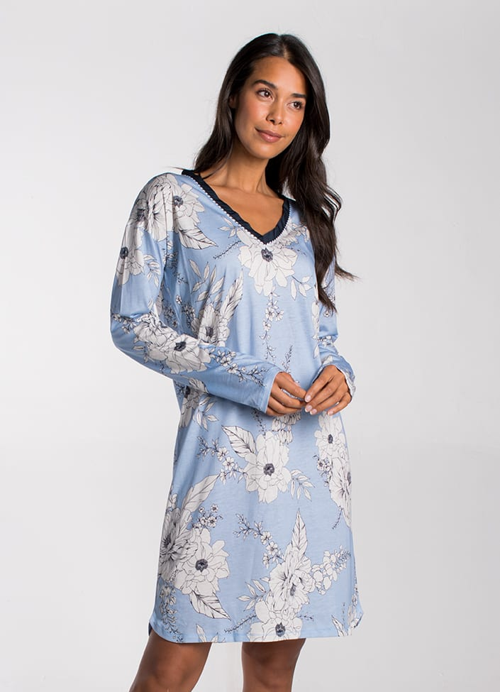 Cyell Japanese Rose nachthemd - maat 36 (S) blauw