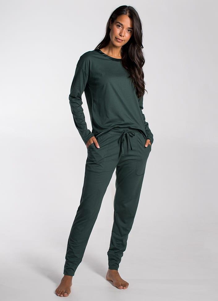 Cyell Solids Forest Green pyjamatop - maat 44 (XXL) groen