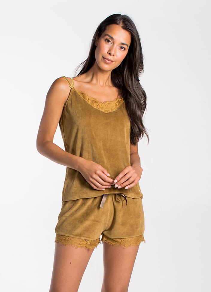 Cyell Old Gold pyjamatop - maat 38 (M) Bruin/Goud