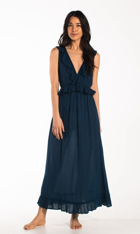 CYELL Embroidered Petrol maxi-jurk