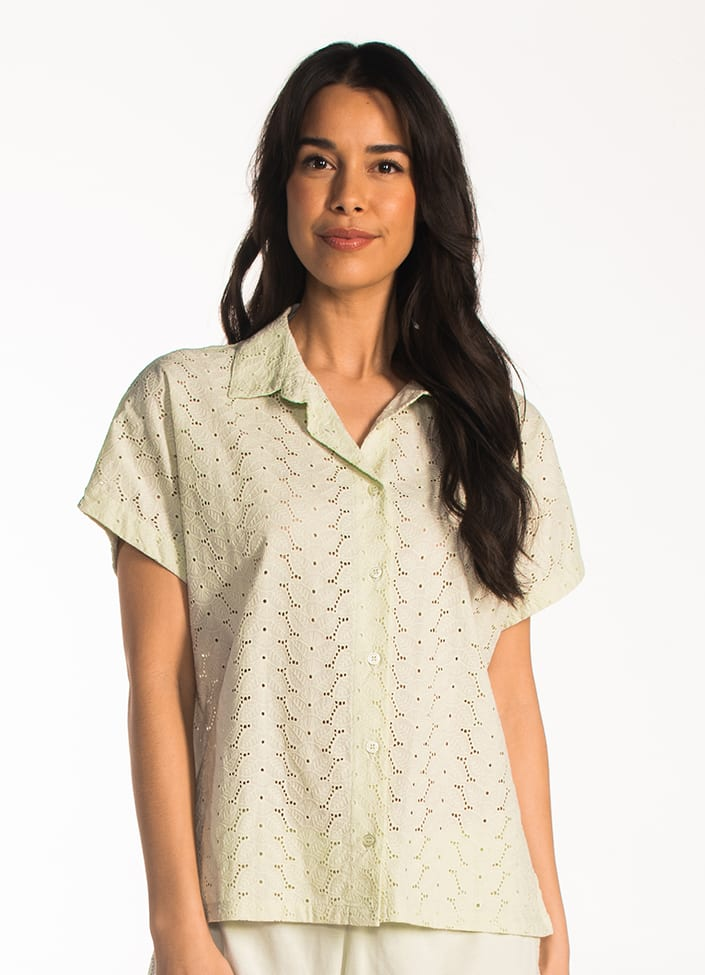 Cyell Broderie pyjamatop - maat 36 (S) groen