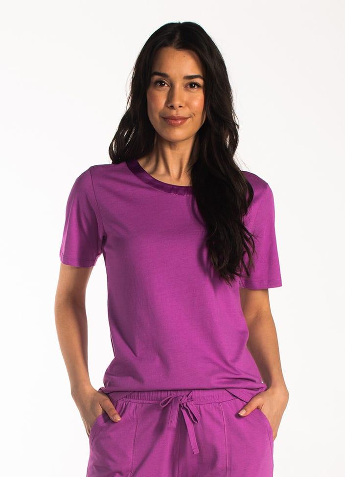Cyell Satin Plum pyjamatop korte mouwen maat 38 (M) paars